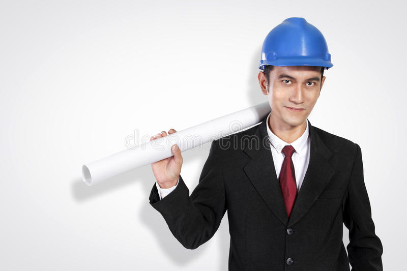Jeune pose sûre d'architecte photos stock