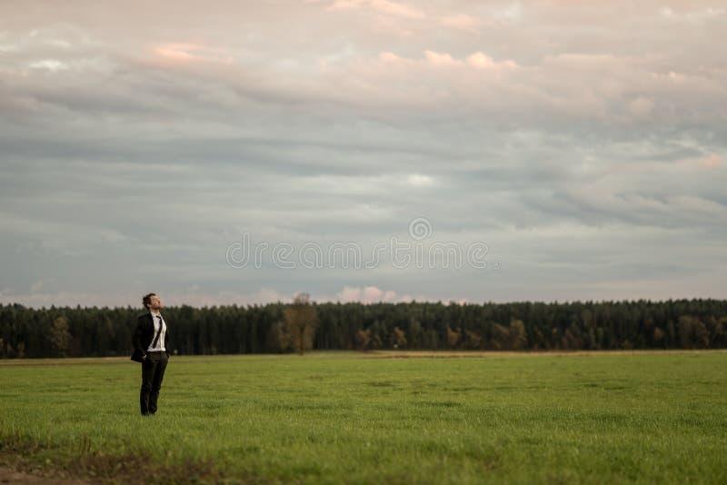 Jeune position d'homme d'affaires dans le costume élégant sur un pré vert image libre de droits