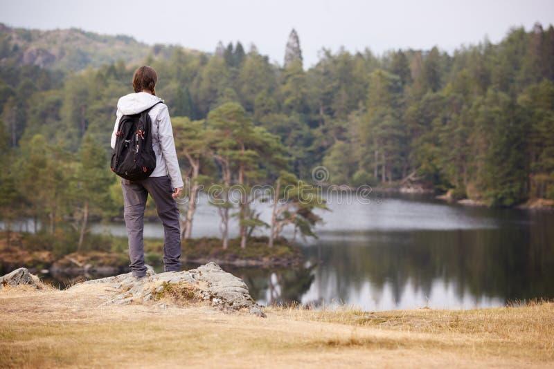 Jeune position de femme adulte sur une roche admirant la vue d'un lac, vue arrière, secteur de lac, R-U photo libre de droits