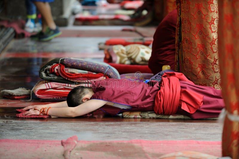Jeune prière de moine photo stock