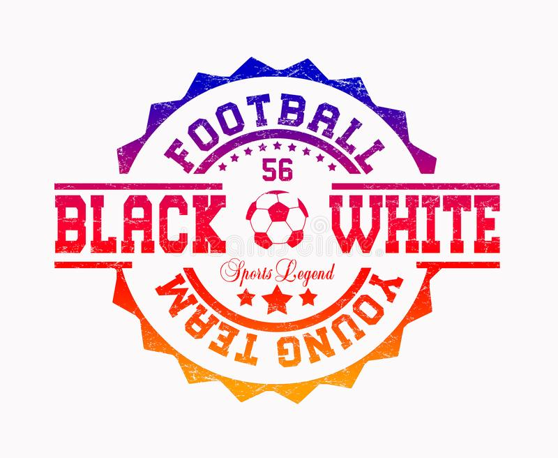 ?jeune ?quipe du football ?, ?blanc noir ?, ?l?gende de sports ? illustration de vecteur