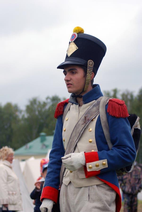 Jeune reenactor à la reconstitution historique de bataille de Borodino en Russie photographie stock libre de droits
