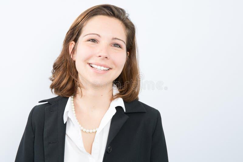 Jeune regard élégant juridique agréable sincère aimant de mandataire de cadre supérieur féminin d'affaires photographie stock libre de droits