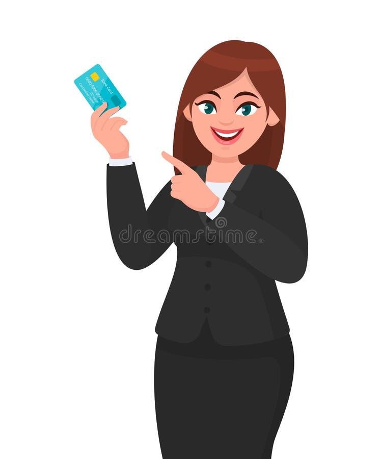 Jeune représentation professionnelle de femme d'affaires/tenant la carte d'opérations bancaires du crédit/debit/ATM et dirigeant  illustration libre de droits