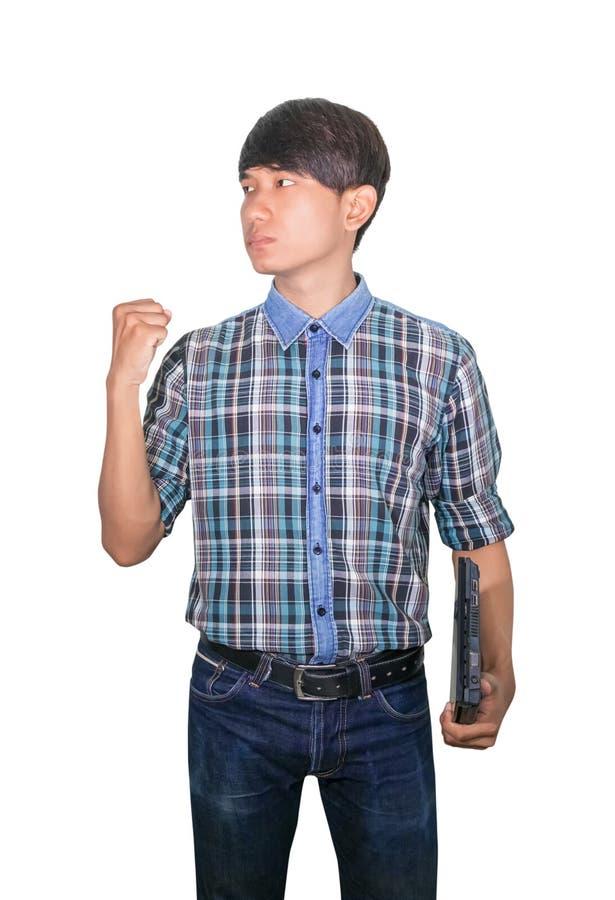 Jeune s?r d'homme d'affaires utilisant l'ordinateur portable d'ordinateur et la main augment?e sur le fond blanc image libre de droits