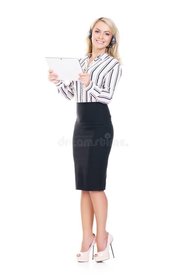 Jeune, sûr et bel opérateur de support à la clientèle avec merci image stock