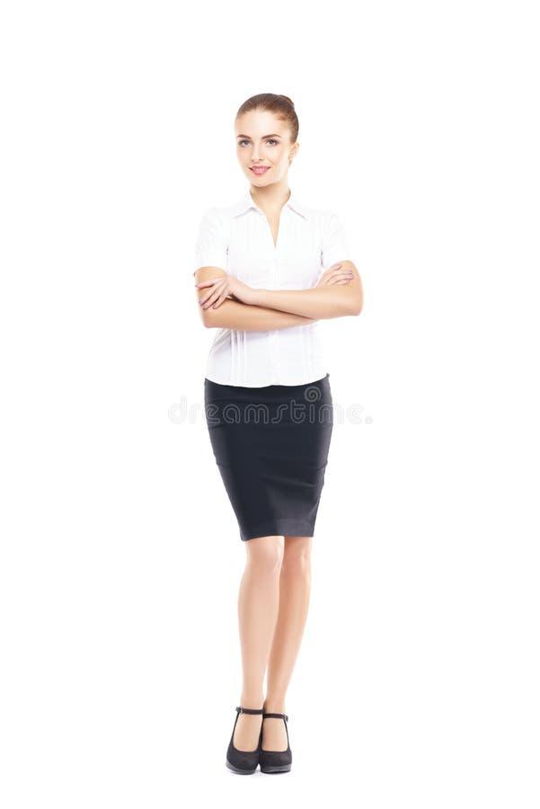 Jeune, sûre, réussie et belle femme d'affaires d'isolement sur le blanc photo stock