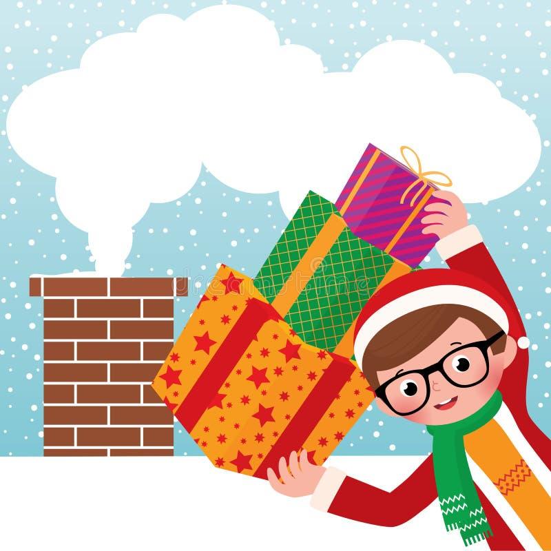 Jeune Santa Claus avec des cadeaux illustration stock