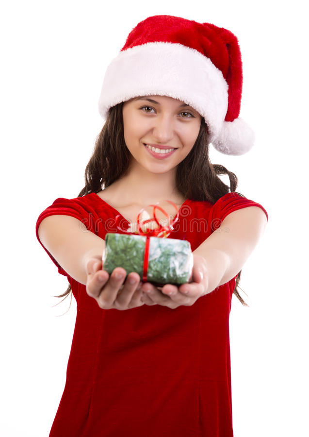 Jeune Santa femelle avec le cadeau de Noël photos stock