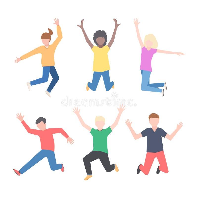 Jeune sauter joyeux de personnes illustration de vecteur
