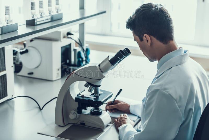 Jeune scientifique à l'aide du microscope dans le laboratoire image libre de droits