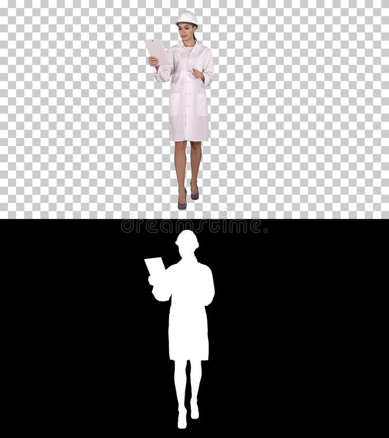 Jeune scientifique féminin Making Video Call avec la Tablette, Alpha Channel photographie stock libre de droits