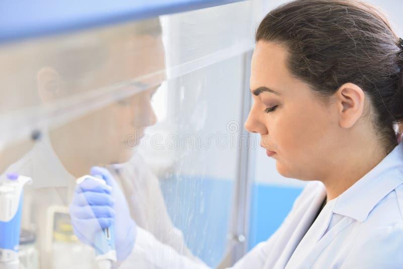 Jeune scientifique féminin regardant par un microscope dans un laboratoire faisant la recherche, analyse microbiologique, médecin image libre de droits