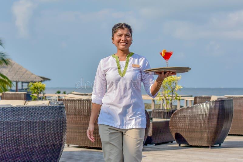 Jeune serveuse marchant avec le cocktail sur le plateau à la barre tropicale d'île image libre de droits