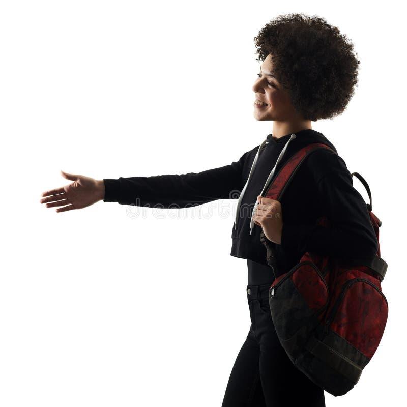 Jeune silhouette d'ombre de poignée de main de femme de fille d'adolescent d'isolement photos stock