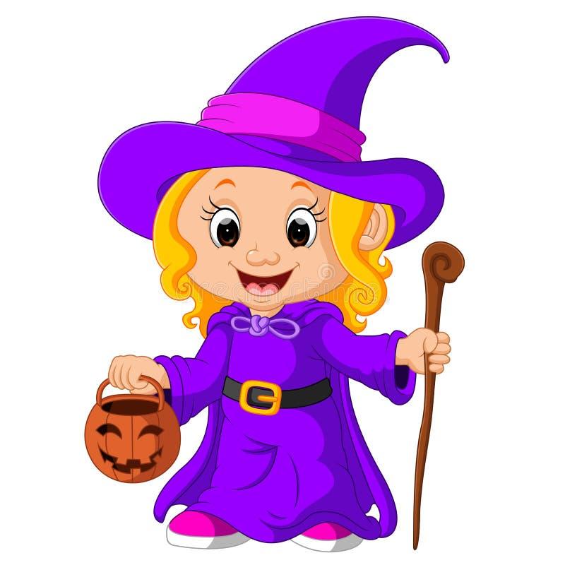 Jeune sorcière mignonne illustration de vecteur
