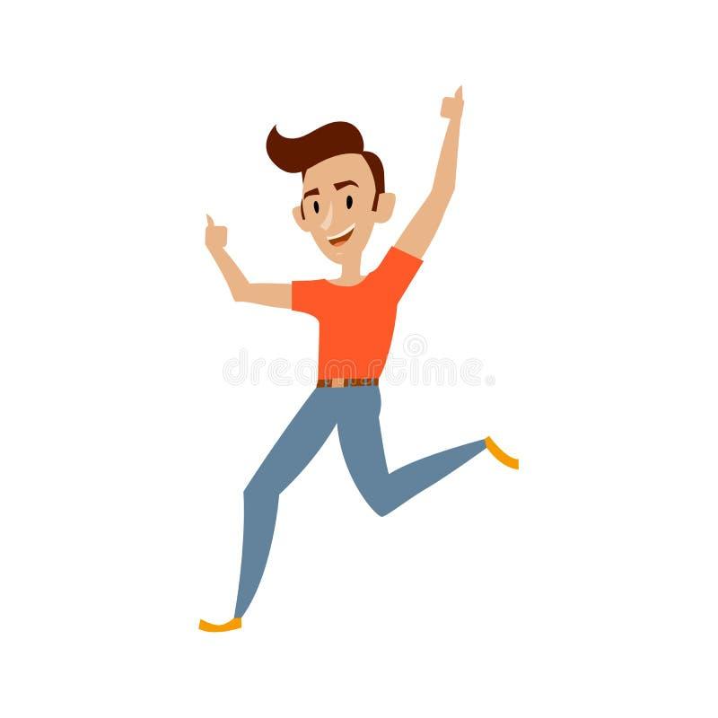Jeune sourire de danses d'adolescent de vecteur d'isolement illustration de vecteur
