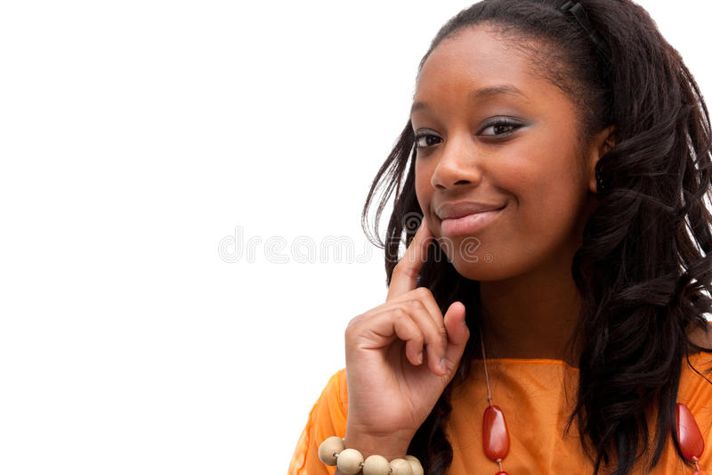 Jeune sourire de femme d'Afro-américain photographie stock