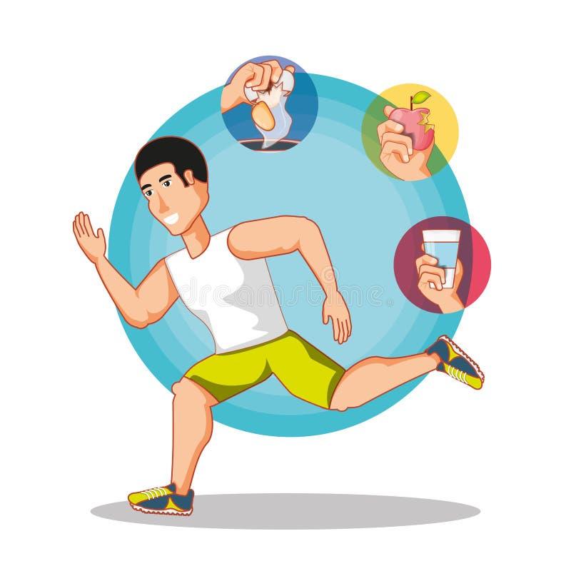 Jeune sport de formation d'athlète avec les icônes saines de mode de vie illustration libre de droits