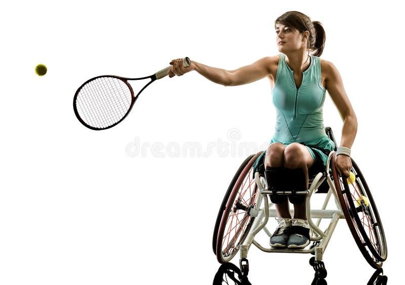 Jeune sport handicapé SI de welchair de femme de joueur de tennis photos stock