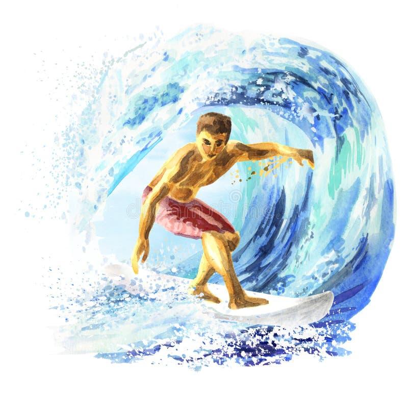 Jeune surfer sur un conseil attrapant une vague images libres de droits