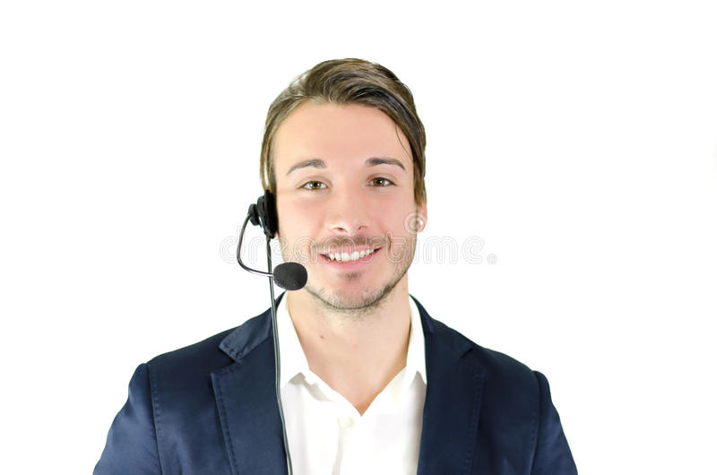 Jeune télemarketing masculin, helpdesk, opérateur de service client images libres de droits