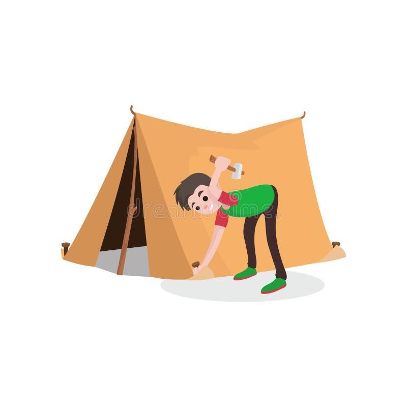 Jeune tente de sourire de touriste d'établissement de garçon d'adolescent Voyage d'été, camping ou concept de hausse Bande dessin illustration libre de droits