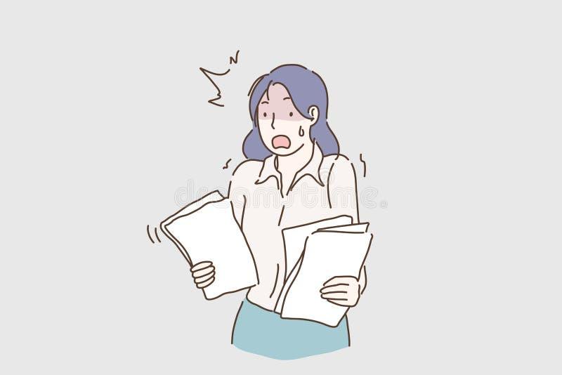 Jeune travailler désespéré et soumis à une contrainte de femme d'affaires accablé tenant des écritures semblant folles et soucieu illustration stock