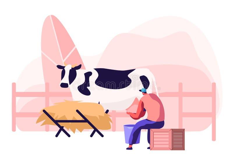 Jeune trayeuse Woman dans la s?ance uniforme sur la bo?te et la vache ? traite dans le seau Lait et producteur laitier Agricultur illustration de vecteur