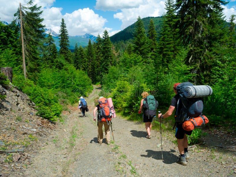 Jeune trekking de randonneurs dans Svaneti photographie stock libre de droits