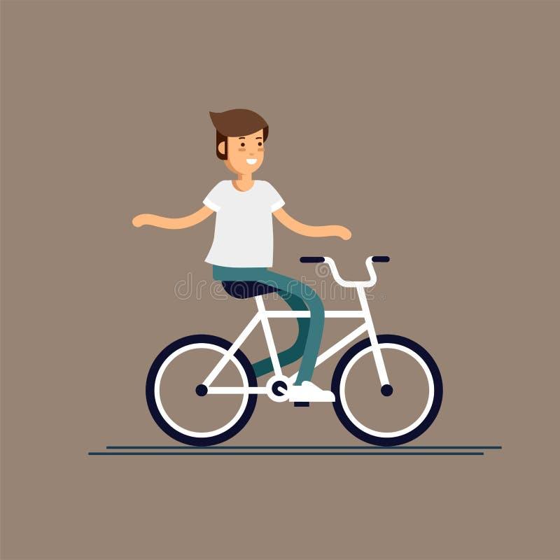 Jeune type ayant la bicyclette d'équitation d'amusement avec le sac à dos Enfant ayant le temps gratuit le week-end Récréation ex illustration libre de droits