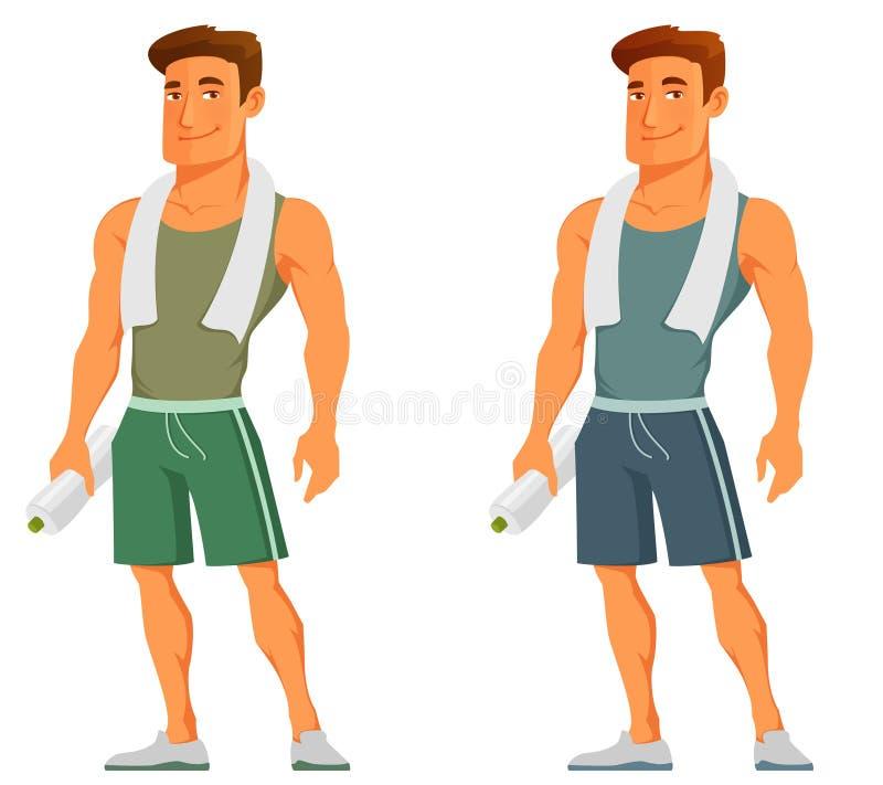 Jeune type de bande dessinée dans les vêtements de sport illustration libre de droits
