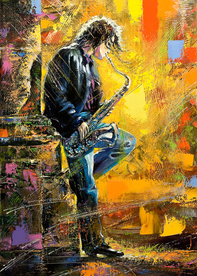 Jeune type jouant un saxophone illustration libre de droits