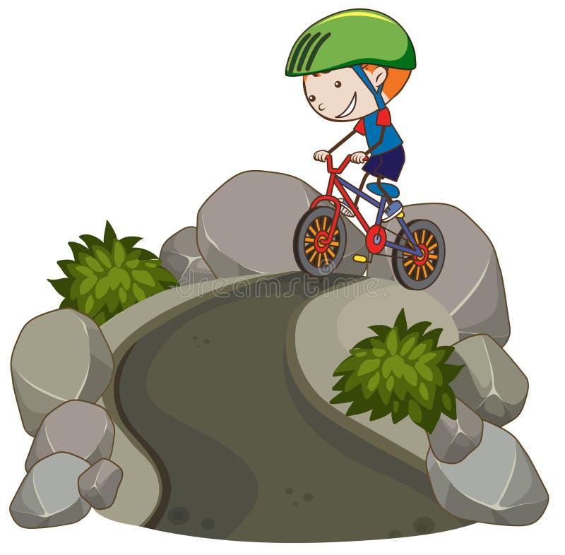 Jeune vélo de montagne d'équitation de garçon illustration stock