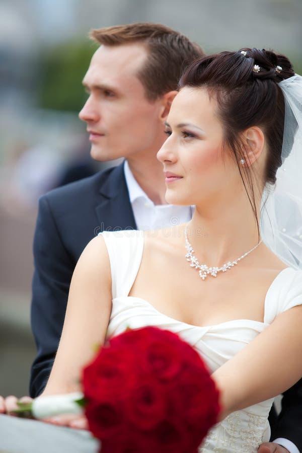 Jeune verticale de couples de mariage image libre de droits