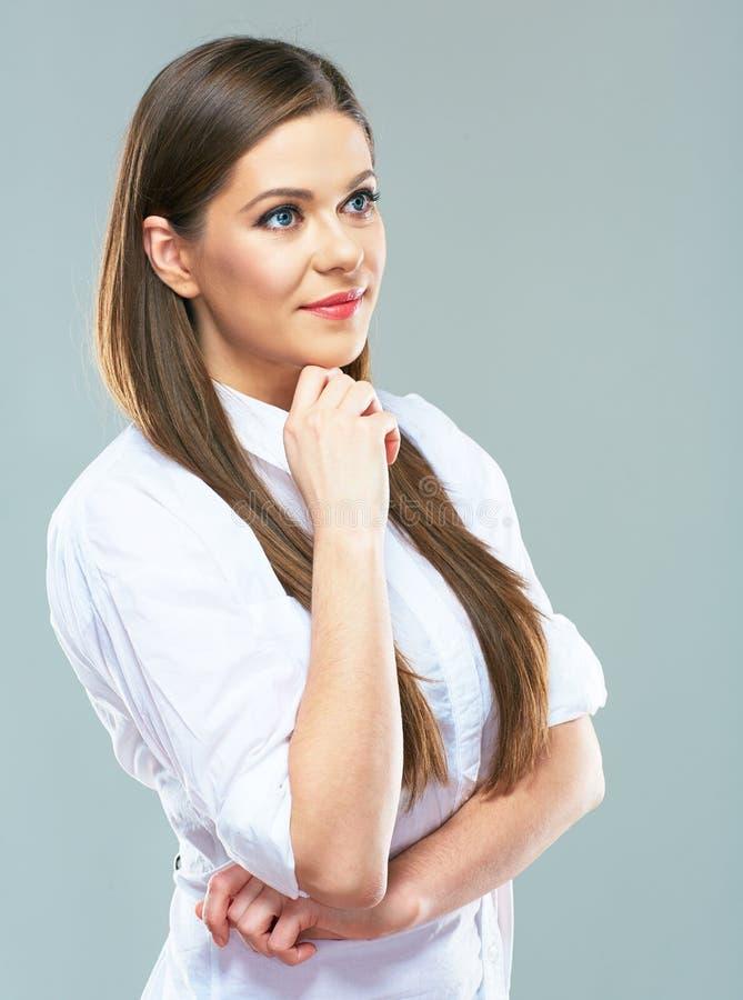 Jeune verticale de femme d'affaires jeune modèle femelle de sourire photo stock