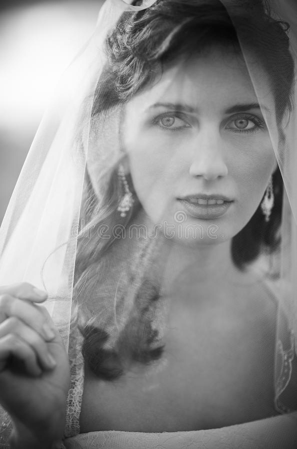 Jeune verticale de mariée images stock