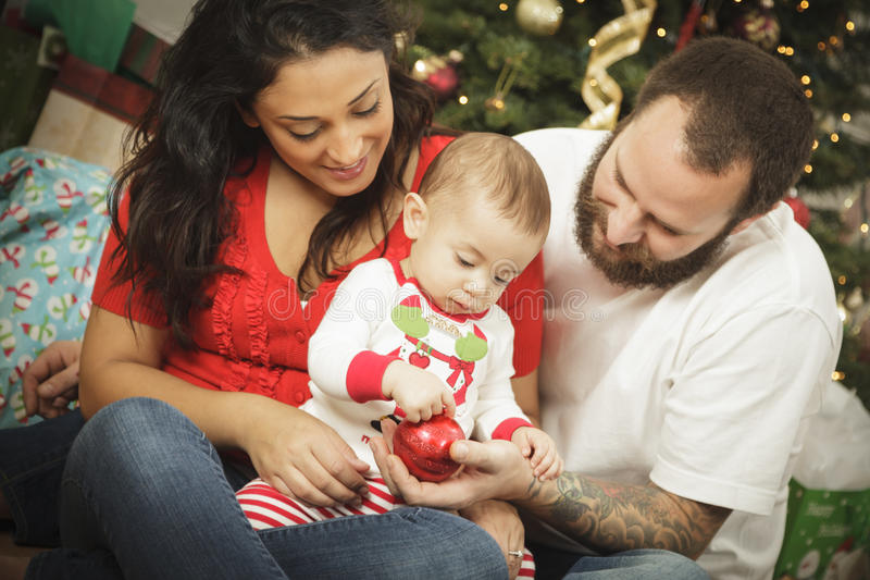 Jeune verticale de Noël de famille de métis image stock