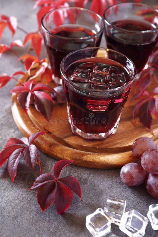 Jeune vin fait maison, raisin rose et feuilles d'automne image libre de droits