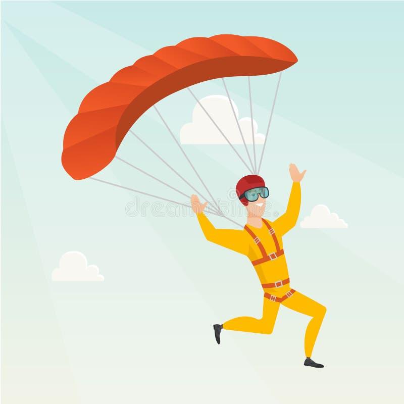 Jeune vol caucasien de parachutiste avec un parachute illustration libre de droits