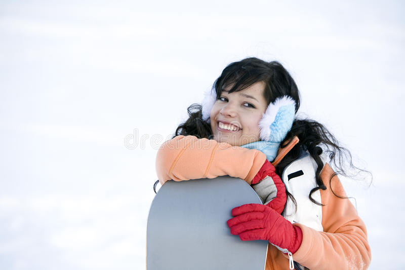 jeunes adultes de snowboarder de style de vie d'image photographie stock libre de droits