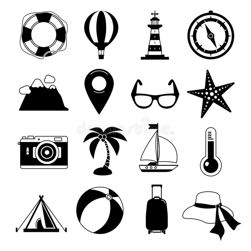Jeunes adultes Ensemble noir d'icône de vecteur Lever de soleil, mer et visite de vacances Illustrations monochromes de loisirs illustration de vecteur