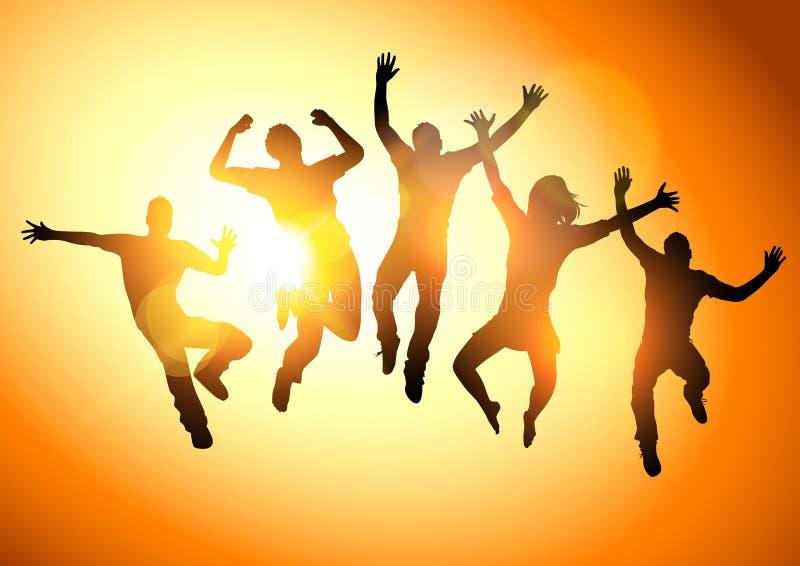 Jeunes adultes sautants illustration stock