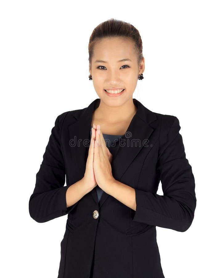 Jeunes affaires avec la posture de paiement thaïlandaise de respect photo stock