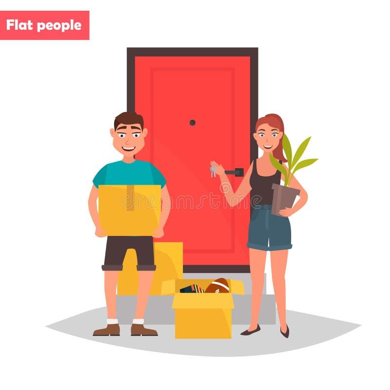 Jeunes ajouter aux choses au seuil d'une illustration plate de nouvelle couleur à la maison illustration libre de droits