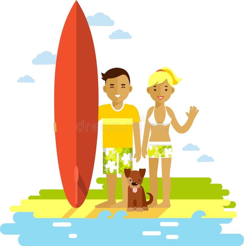 Jeunes ajouter d'homme et de femme de surfer à la planche de surf illustration stock