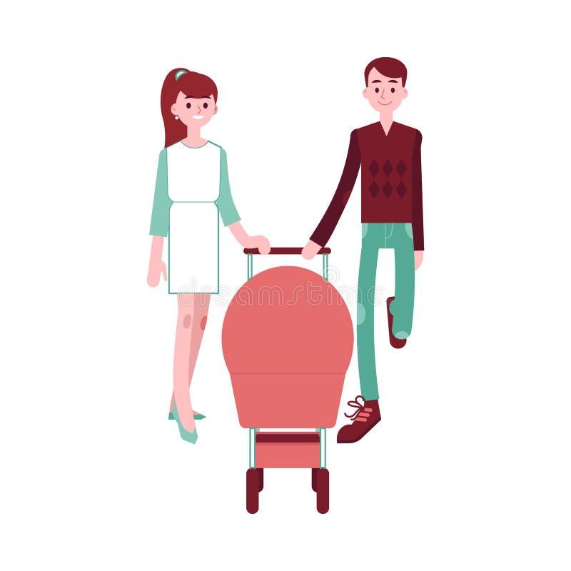 Jeunes ajouter heureux de famille au bébé dans le landau marchant ensemble illustration libre de droits