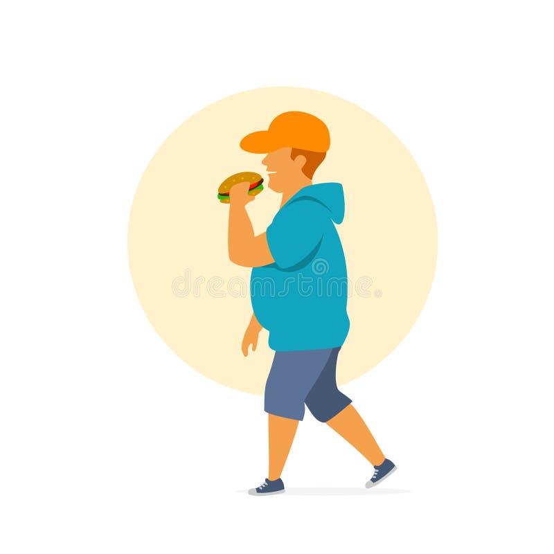 Jeunes aliments de préparation rapide mangeurs d'hommes de poids excessif sur le chemin illustration libre de droits
