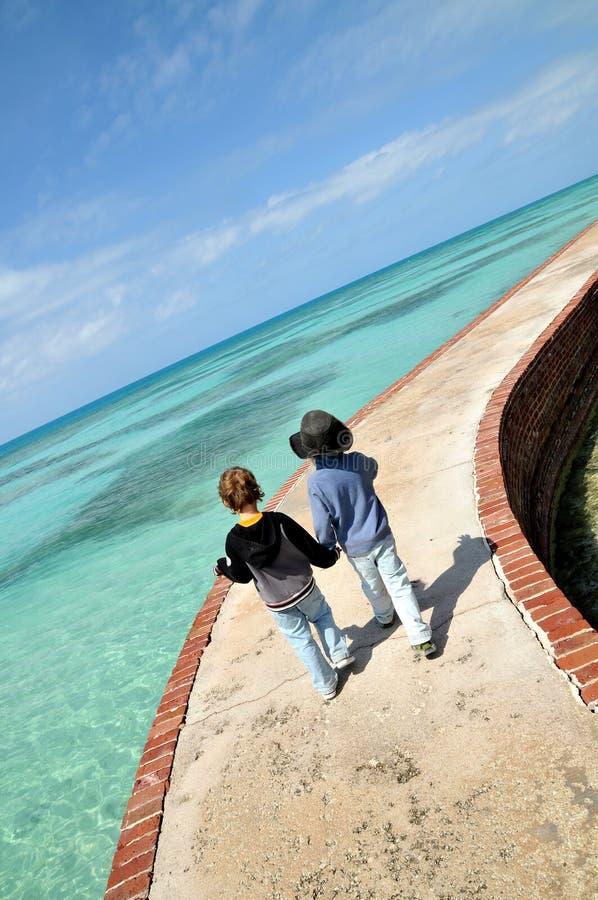 Jeunes amis sur le stroll tropical image stock