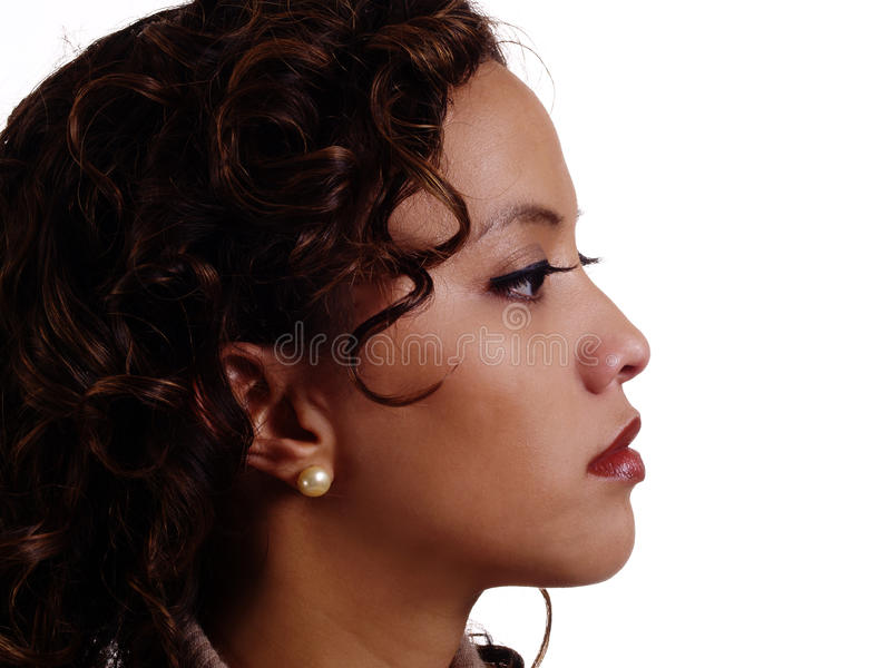 Jeunes attrayants de femme hispanique philippine de profil de portrait photo stock